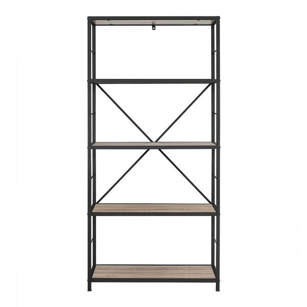 60-inch Rustic Metal and Wood Media Bookshelf - Driftwood, image 3