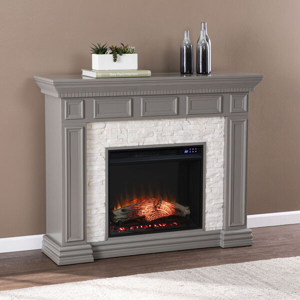 Dakesbury Gray Faux Stone Electric Fireplace, image 4