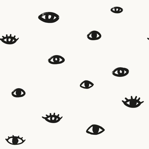 Bobby Berk Black and Gloss Eye See You White Peel and Stick Wallpaper, image 2