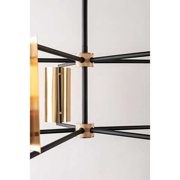 Cleo Black and Brass Five-Light Chandelier, image 3
