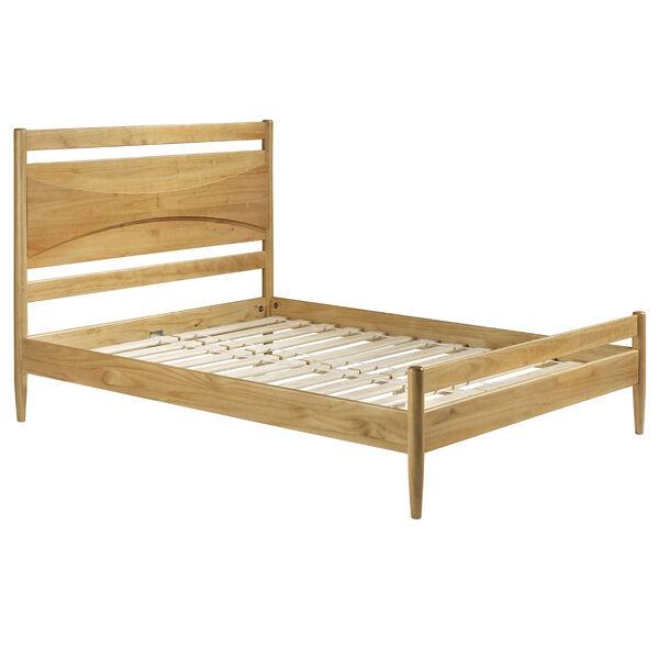 Atticus Light Oak Beveled Headboard Solid Wood Queen Bed, image 3