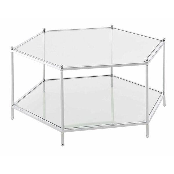 Royal Crest Clear Glass Chrome Frame Hexagonal Chrome Coffee Table, image 1