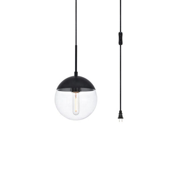 Eclipse Black and Clear Eight-Inch One-Light Plug-In Pendant, image 3