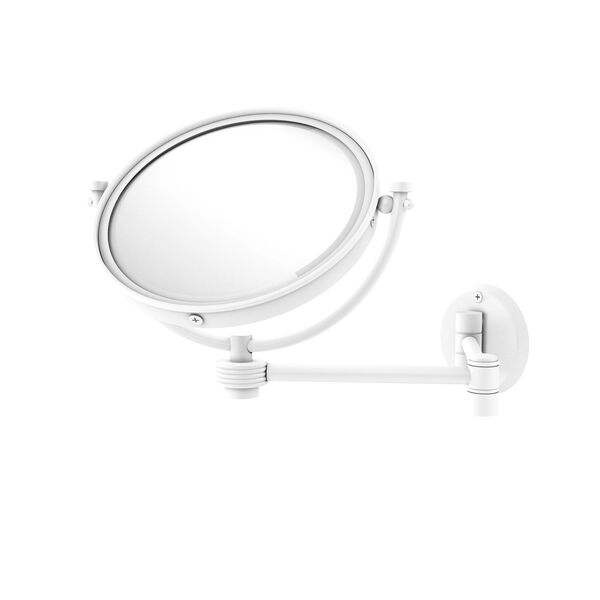 Matte White Eight-Inch Wall Mounted Extending Make-Up Mirror 4X Magnification with Groovy Accent, image 1