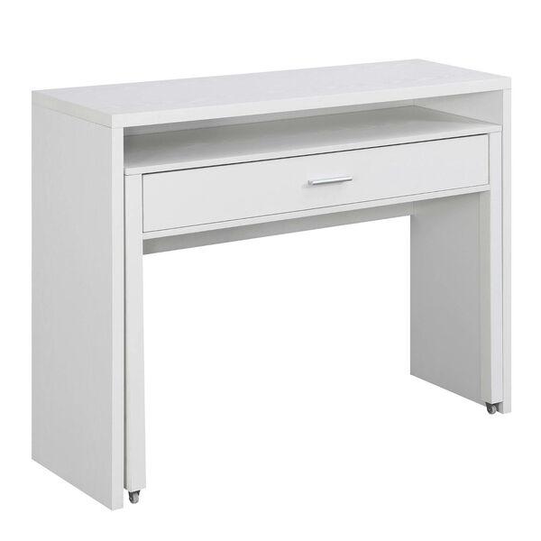 Newport JB White Sliding Desk with Drawer and Riser, image 6