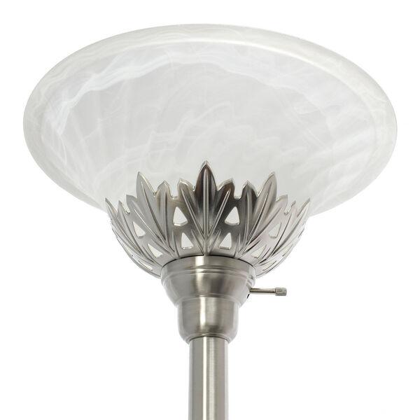 Quince Brushed Nickel White Shade Three-Light Floor Lamp, image 6