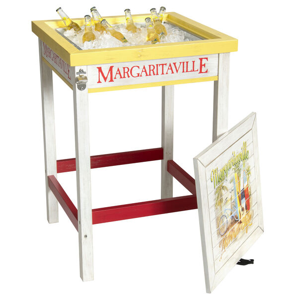 Red Bistro Table with Beverage Tub, image 1
