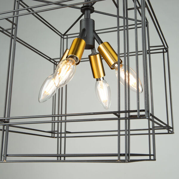 Artisan Black and Brushed Brass Four-Light Pendant, image 5