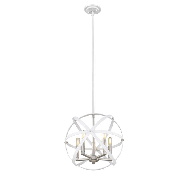 Cavallo Hammered White and Brushed Nickel Five-Light Chandelier, image 3