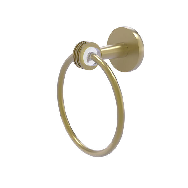 Clearview Satin Brass Seven-Inch Towel Ring with Dotted Accents, image 1