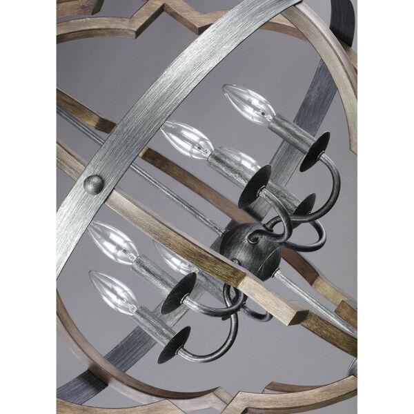 Kenwood Black and Wood 25-Inch Six-Light Chandelier, image 2
