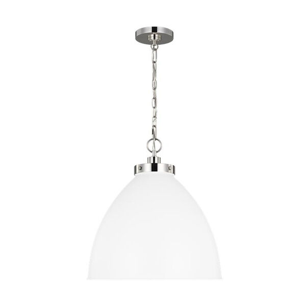 Wellfleet Matte White and Silver 18-Inch One-Light Pendant, image 2