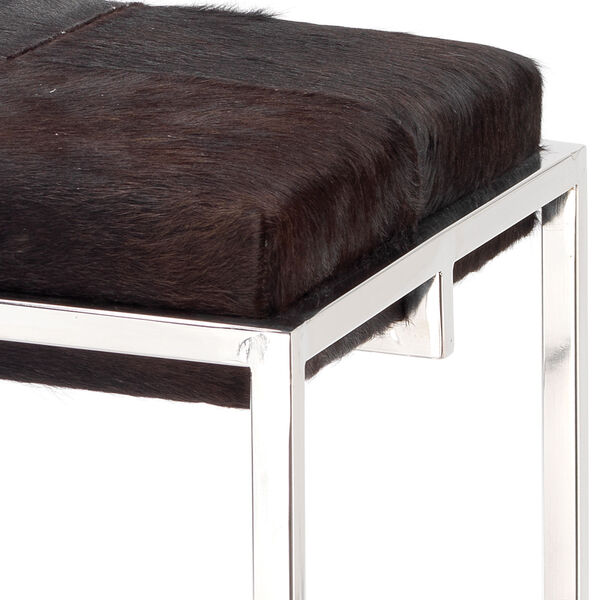 Shelby Espresso Hide and Nickel Metal Counter Stool, image 2