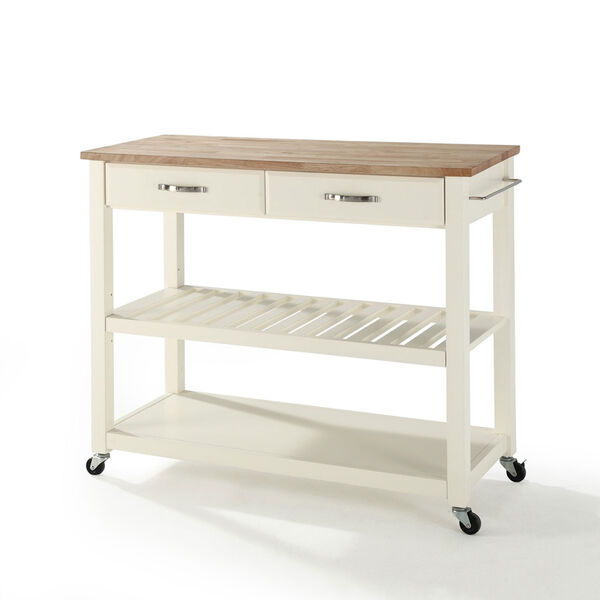 Natural Wood Top Kitchen Cart/Island With Optional Stool Storage in White Finish, image 1