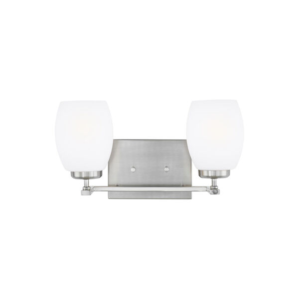 Catlin Brushed Nickel Two-Light Bath Vanity with Etched White Inside Shade, image 1