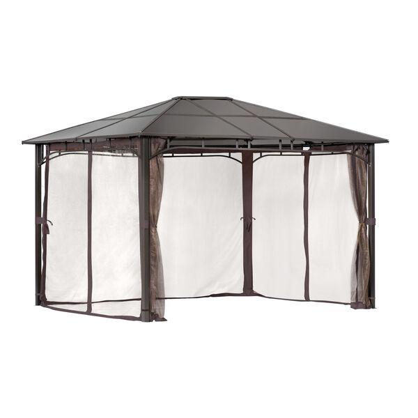 Dark Brown Brown Steel 10 x 12 Feet Polycarbonate Roof Gazebo, image 1