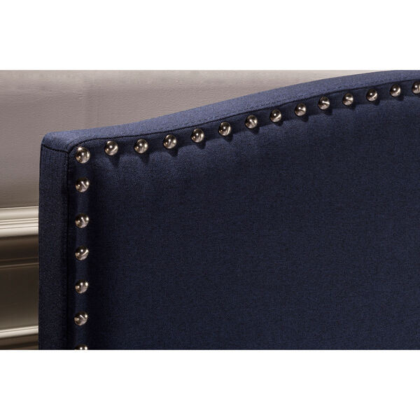 Kerstein Navy Linen Full Complete Bed With Rails, image 3