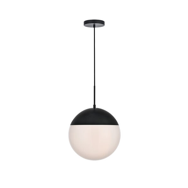 Eclipse Black and Frosted White 14-Inch One-Light Pendant, image 1