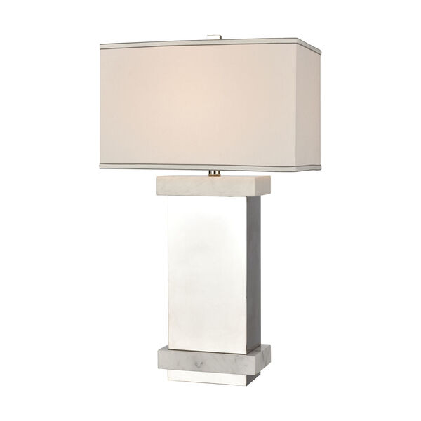 Keystone Silver and White One-Light Table Lamp, image 1