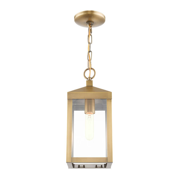 Nyack Antique Brass One-Light Outdoor Pendant Lantern, image 4