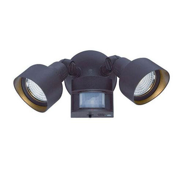 Architectural Bronze Two-Light LED Motion Activated Outdoor Floodlight Fixture, image 1