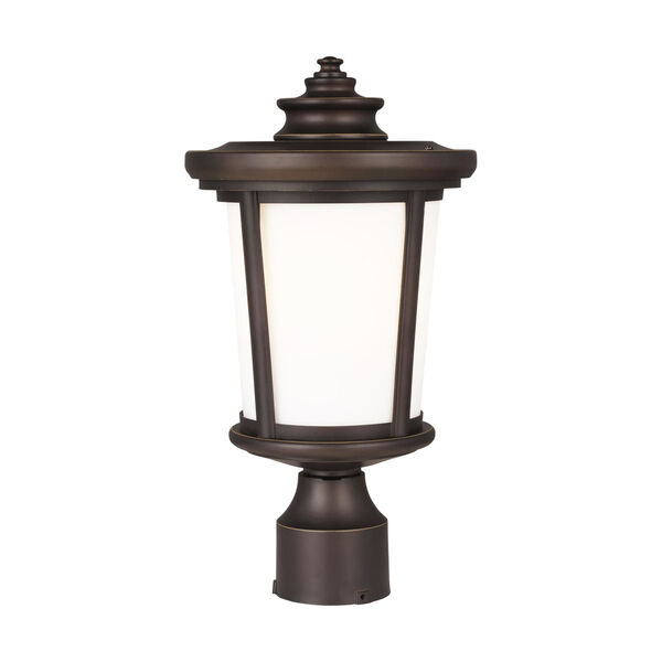 Eddington Antique Bronze One-Light Outdoor Post Mount with Cased Opal Etched Shade, image 1