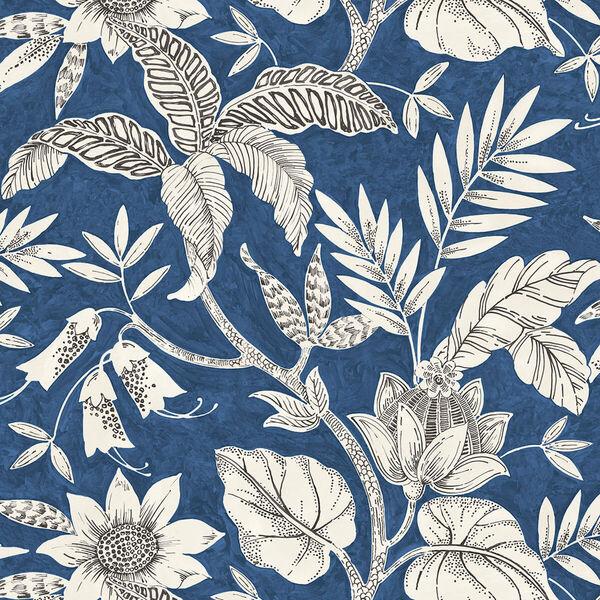Boho Rhapsody Sapphire and Brushed Ebony Rainforest Leaves Unpasted Wallpaper, image 2