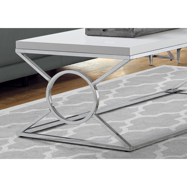 Glossy White and Chrome 22-Inch Coffee Table, image 3