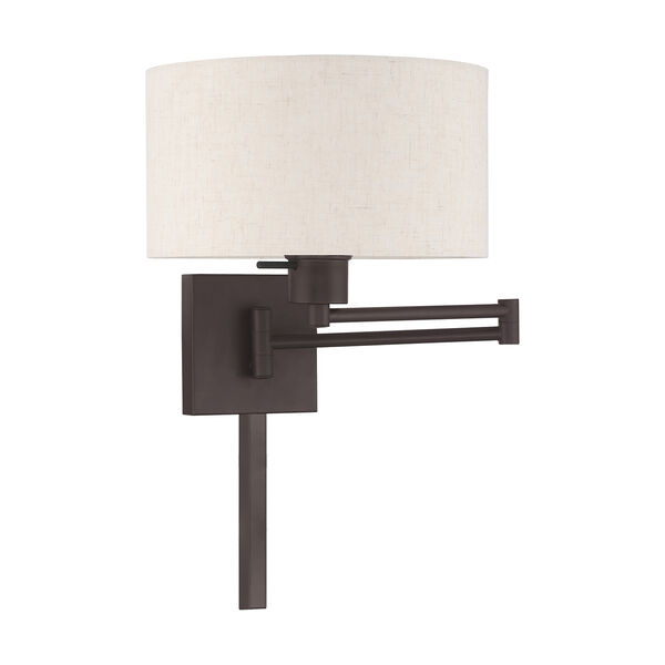 Swing Arm Wall Lamps Bronze 11-Inch One-Light Swing Arm Wall Lamp with Hand Crafted Oatmeal Hardback Shade, image 2