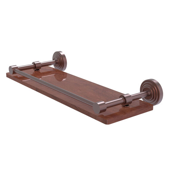 Waverly Place Antique Copper 16-Inch Solid IPE Ironwood Shelf with Gallery Rail, image 1