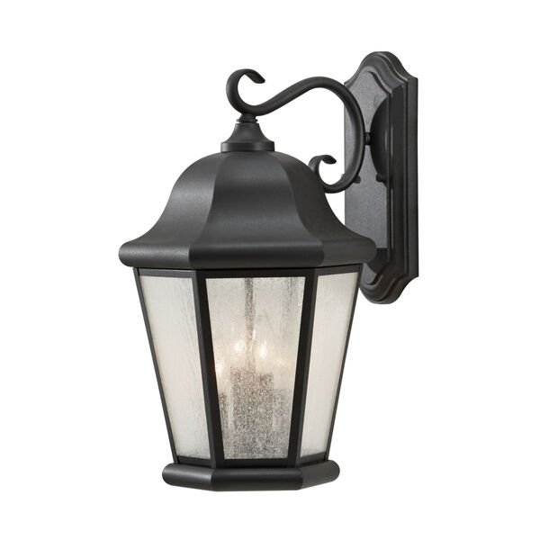 Martinsville Black Four-Light Outdoor Wall Sconce with Clear Seeded Shade, image 1