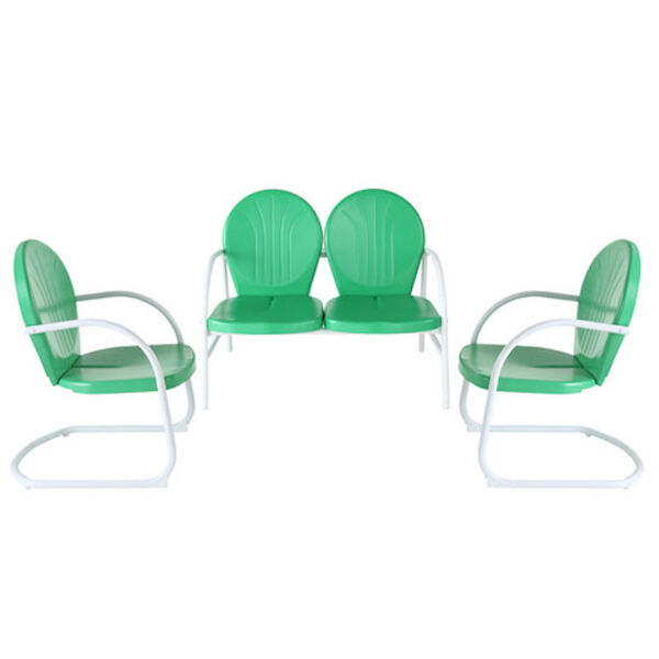 Griffith Three Piece Metal Outdoor Conversation Seating Set: Loveseat and Two Chairs in Grasshopper Green Finish, image 1