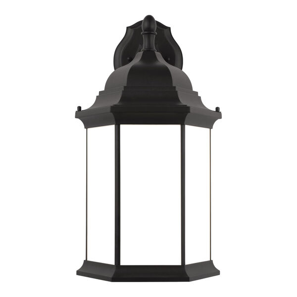 Sevier Black 13-Inch One-Light Outdoor Downlight Wall Sconce with Satin Etched Shade, image 1