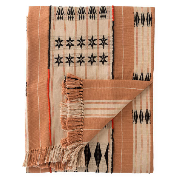Nagaland Chang Tribal Blush and Beige Hand-Loomed Throw, image 1