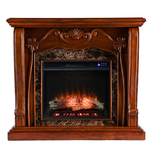 Cardona Walnut Electric Fireplace with Faux Marble, image 2