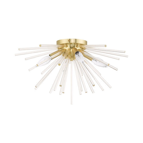 Utopia Satin Brass 20-Inch Four-Light Ceiling Mount with Clear Crystal Rods, image 2