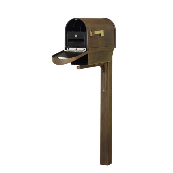 Classic Curbside Copper Mailbox with Newspaper Tube, Locking Insert and Wellington Mailbox Post, image 1