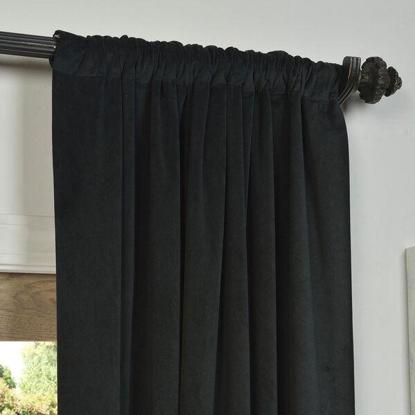 Signature Warm Black Blackout Velvet Pole Pocket Single Panel Curtain, 50 X 108, image 3