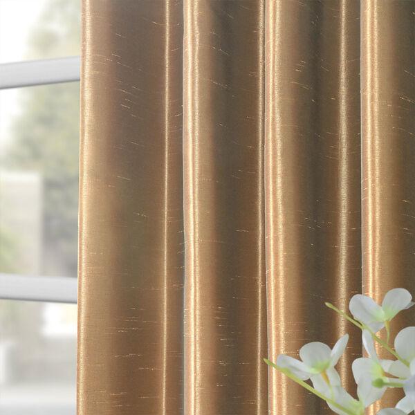 Flax Gold Vintage Textured Faux Dupioni Silk Single Panel Curtain, 50 X 84, image 8