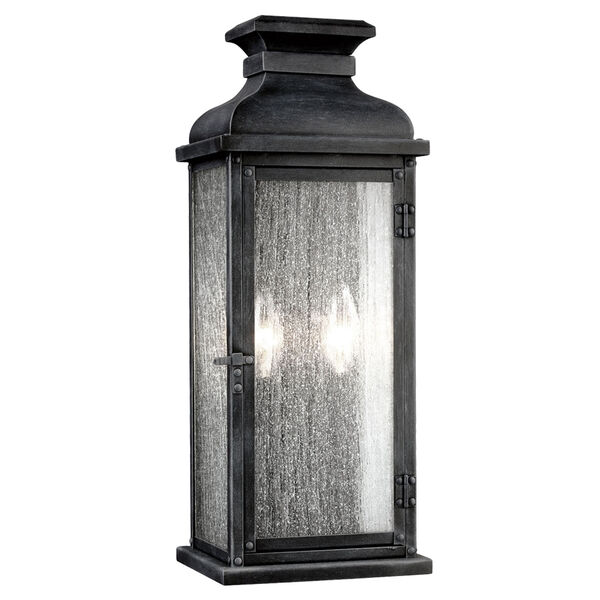 Pediment Dark Weathered Zinc Two-Light 18-Inch Outdoor Wall Sconce, image 1
