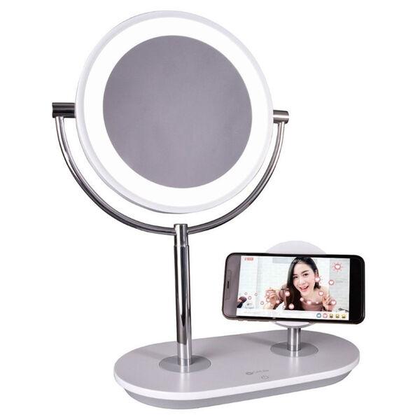 White Wireless Charging LED Makeup Mirror, image 1