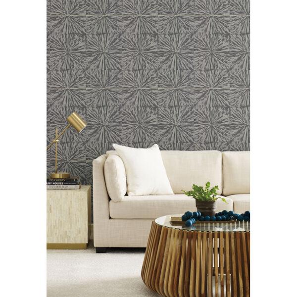 Antonina Vella Elegant Earth Charcoal Squareburst Geometric Wallpaper, image 4