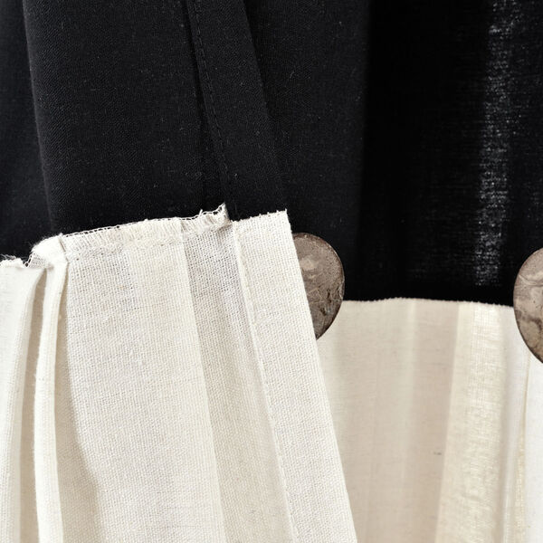 Linen Button Black and White 40 x 95 In. Single Window Curtain Panel, image 5