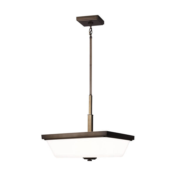 Ellis Harper Brushed Oil Rubbed Bronze Three-Light Pendant with Etched White Inside Shade Energy Star, image 1