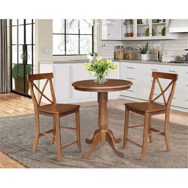 Back Counter Height Stool Set, Round Gathering Table