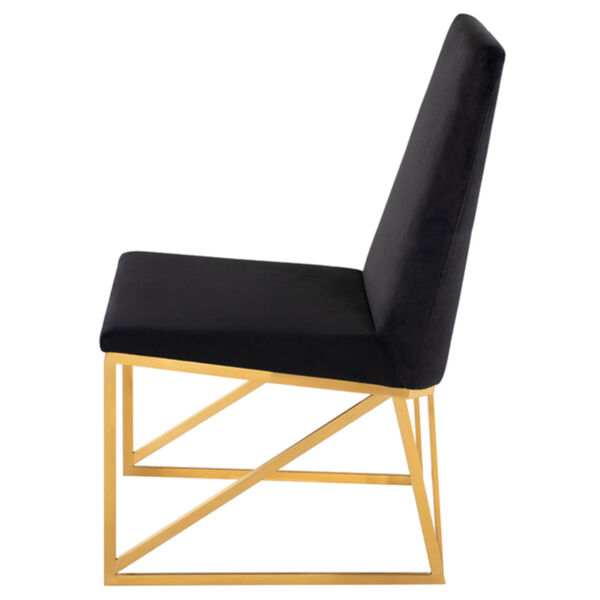 Caprice Black Velour and Brushed Gold Dining Chair, image 3