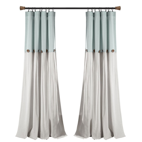 Linen Button Blue and Gray 40 x 108 In. Single Window Curtain Panel, image 5