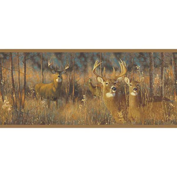 Lake Forest Lodge White Tail Deer Border: Sample Swatch Only, image 1
