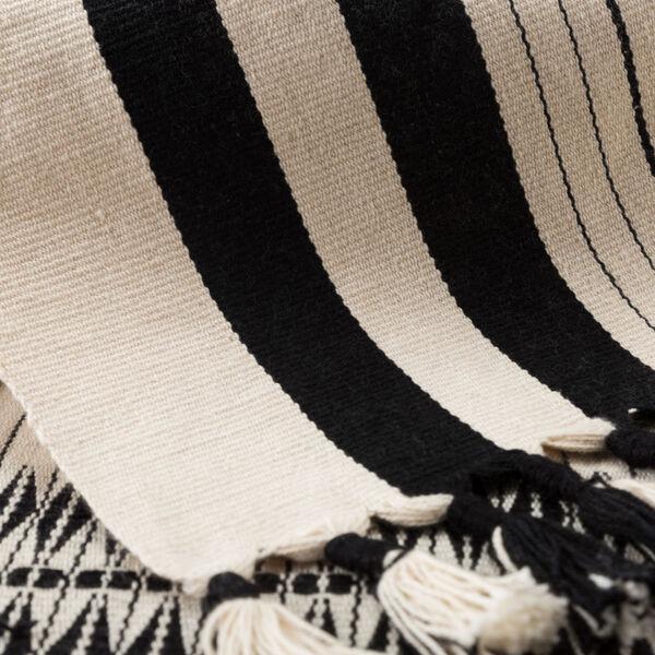 Nagaland Saramati Tribal Cream and Black Hand-Loomed Throw, image 2