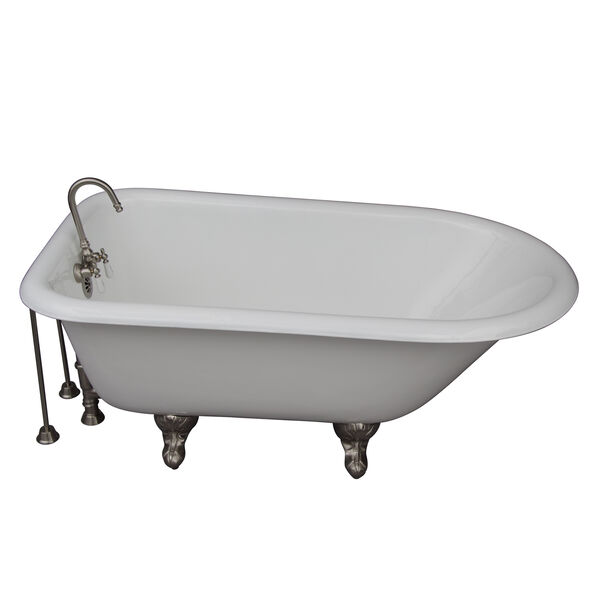 Brushed Nickel Tub Kit 54-Inch Cast Iron Roll Top, Filler, Supplies, and Drain, image 1